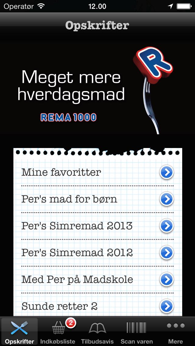 Screenshot af Rema 1000-appen